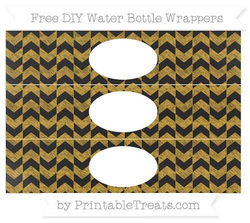 Free Gold Herringbone Pattern Chalk Style DIY Water Bottle Wrappers