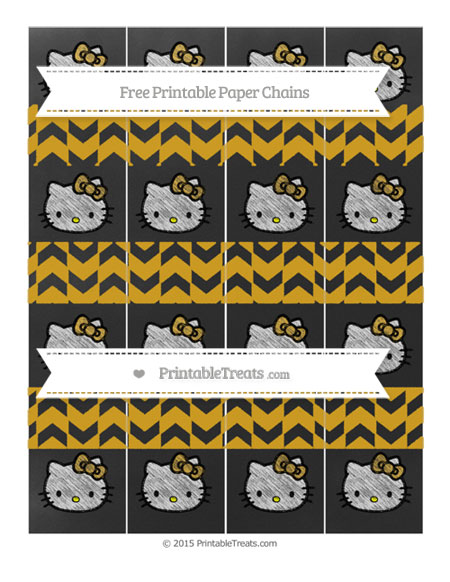 Free Gold Herringbone Pattern Chalk Style Hello Kitty Paper Chains