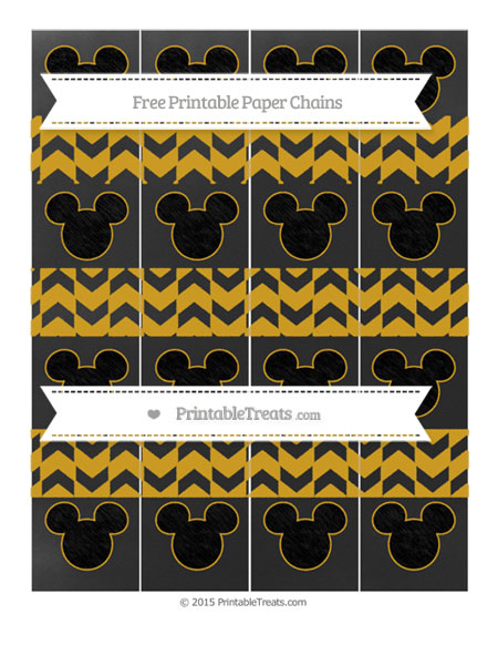 Free Gold Herringbone Pattern Chalk Style Mickey Mouse Paper Chains