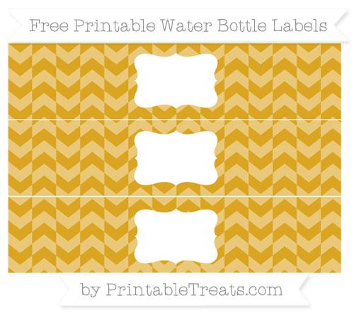 Free Gold Herringbone Pattern Water Bottle Labels