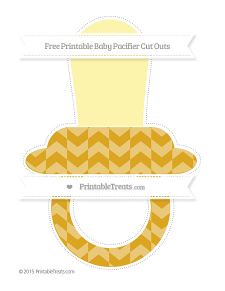Free Gold Herringbone Pattern Extra Large Baby Pacifier Cut Outs