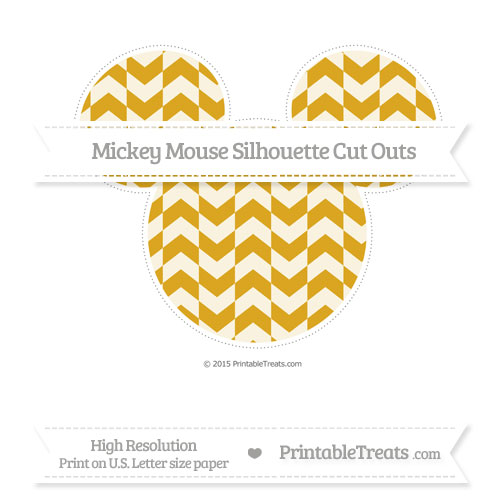 Free Gold Herringbone Pattern Extra Large Mickey Mouse Silhouette Cut Outs