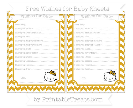 Free Gold Herringbone Pattern Hello Kitty Wishes for Baby Sheets