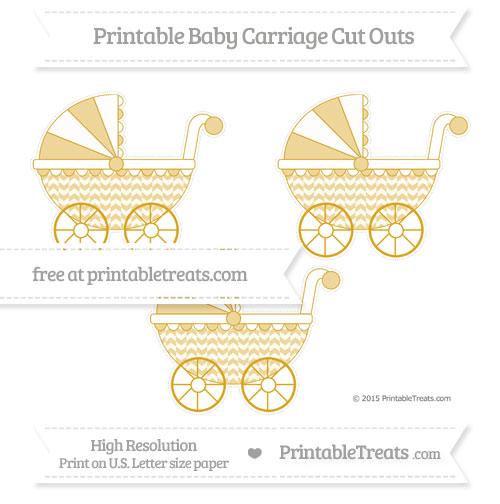 Free Gold Herringbone Pattern Medium Baby Carriage Cut Outs