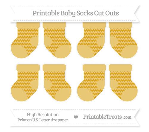 Free Gold Herringbone Pattern Small Baby Socks Cut Outs