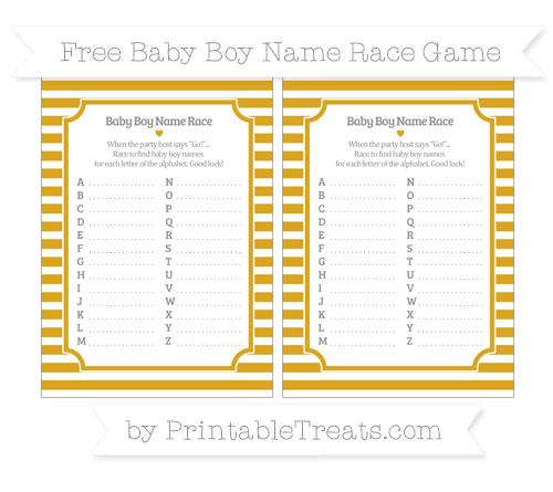 Free Gold Horizontal Striped Baby Boy Name Race Game