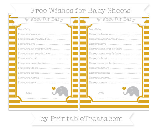 Free Gold Horizontal Striped Baby Elephant Wishes for Baby Sheets