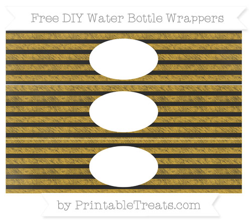 Free Gold Horizontal Striped Chalk Style DIY Water Bottle Wrappers