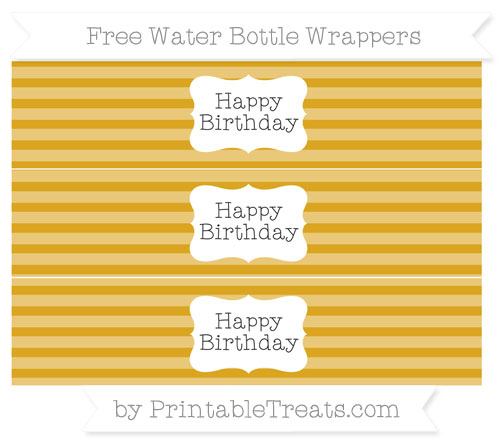 Free Gold Horizontal Striped Happy Birhtday Water Bottle Wrappers