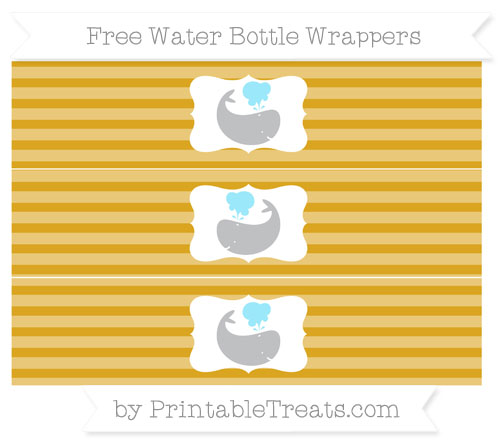 Free Gold Horizontal Striped Whale Water Bottle Wrappers