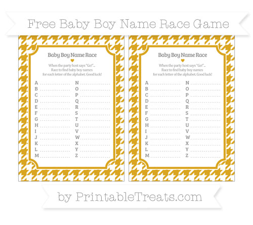 Free Gold Houndstooth Pattern Baby Boy Name Race Game