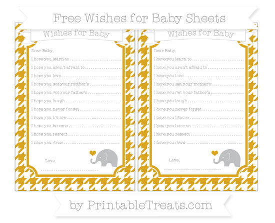 Free Gold Houndstooth Pattern Baby Elephant Wishes for Baby Sheets