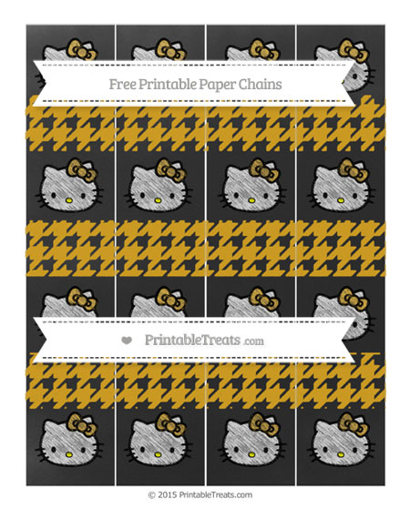 Free Gold Houndstooth Pattern Chalk Style Hello Kitty Paper Chains