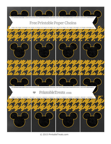 Free Gold Houndstooth Pattern Chalk Style Mickey Mouse Paper Chains