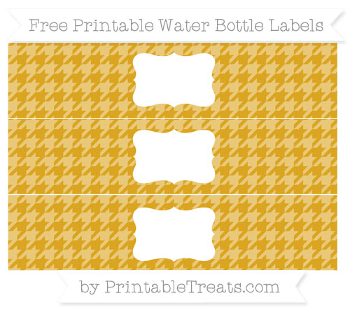 Free Gold Houndstooth Pattern Water Bottle Labels