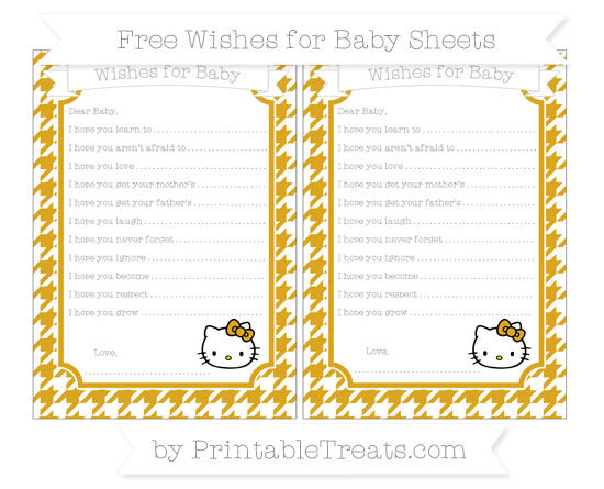 Free Gold Houndstooth Pattern Hello Kitty Wishes for Baby Sheets