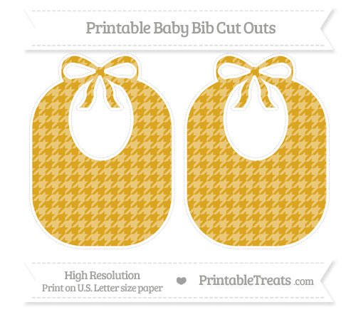 Free Gold Houndstooth Pattern Large Baby Bib Cut Outs