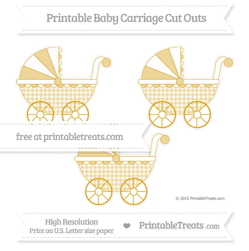 Free Gold Houndstooth Pattern Medium Baby Carriage Cut Outs