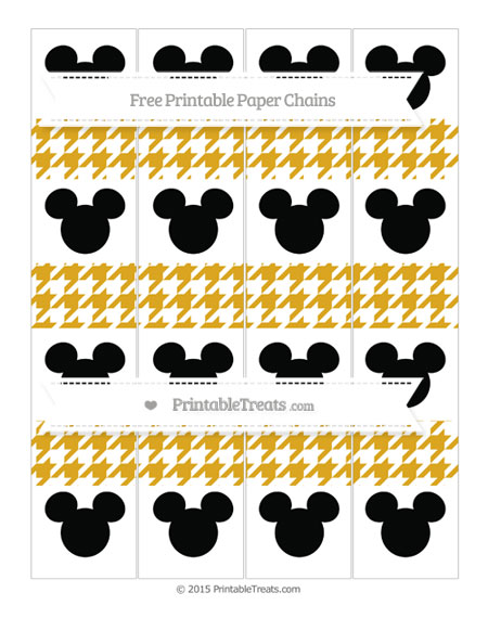 Free Gold Houndstooth Pattern Mickey Mouse Paper Chains