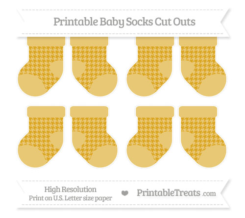 Free Gold Houndstooth Pattern Small Baby Socks Cut Outs