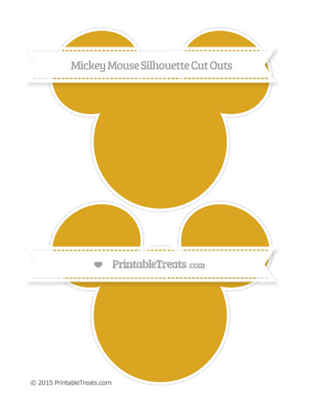 Free Gold Large Mickey Mouse Silhouette Cut Outs