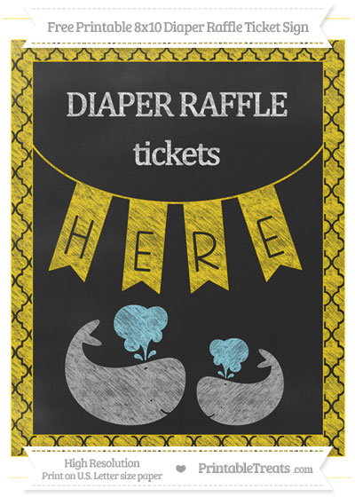 Free Gold Moroccan Tile Chalk Style Baby Whale 8x10 Diaper Raffle Ticket Sign