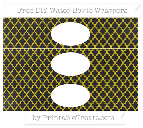 Free Gold Moroccan Tile Chalk Style DIY Water Bottle Wrappers