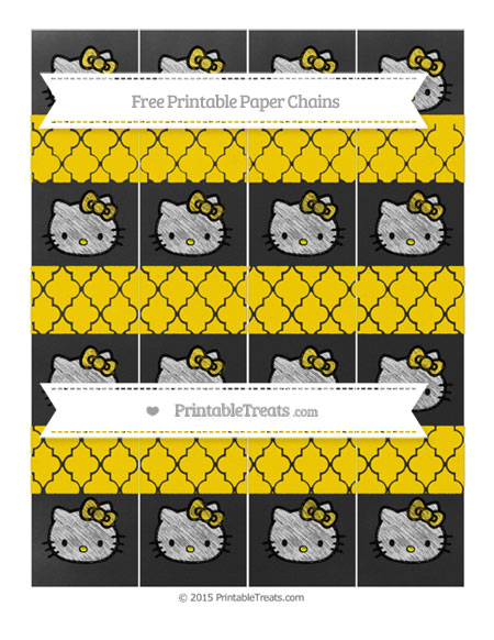 Free Gold Moroccan Tile Chalk Style Hello Kitty Paper Chains
