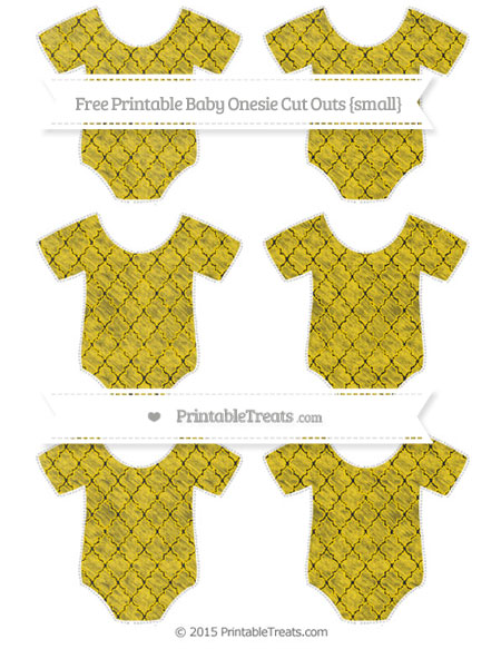 Free Gold Moroccan Tile Chalk Style Small Baby Onesie Cut Outs