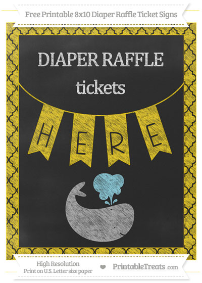 Free Gold Moroccan Tile Chalk Style Whale 8x10 Diaper Raffle Ticket Sign