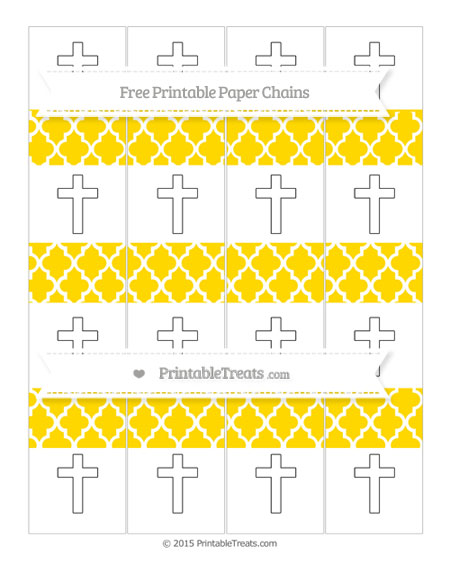 Free Gold Moroccan Tile Cross Paper Chains