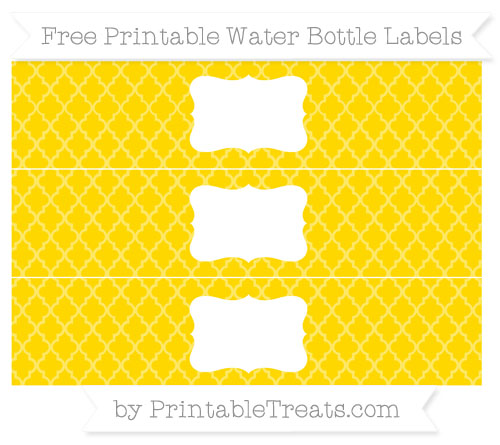 Free Gold Moroccan Tile Water Bottle Labels