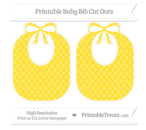 Free Gold Moroccan Tile Large Baby Bib Cut Outs