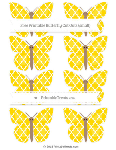 Free Gold Moroccan Tile Small Butterfly Cut Outs