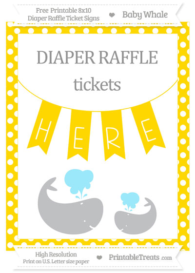 Free Gold Polka Dot Baby Whale 8x10 Diaper Raffle Ticket Sign