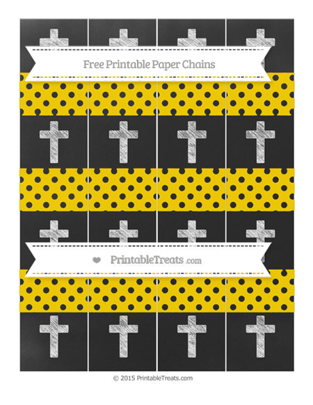 Free Gold Polka Dot Chalk Style Cross Paper Chains