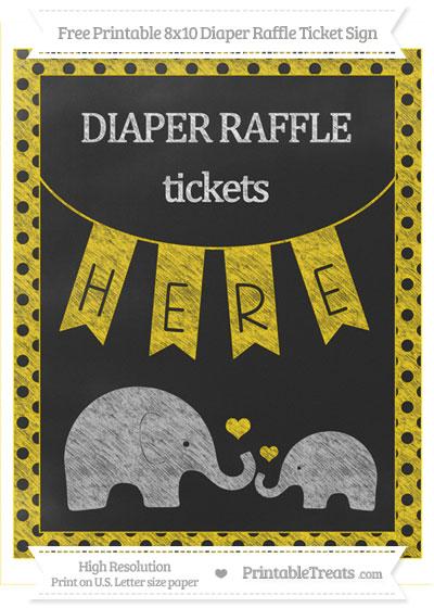 Free Gold Polka Dot Chalk Style Elephant 8x10 Diaper Raffle Ticket Sign