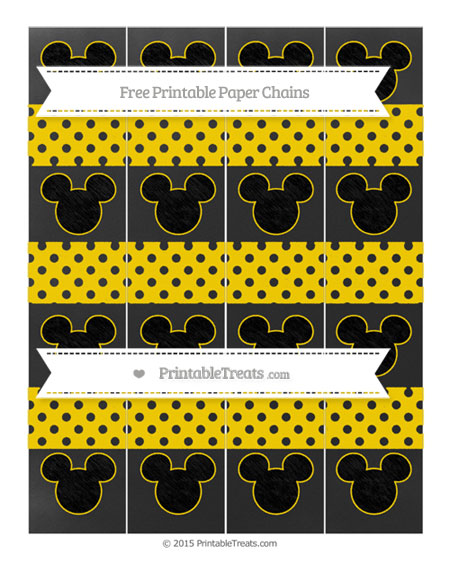 Free Gold Polka Dot Chalk Style Mickey Mouse Paper Chains