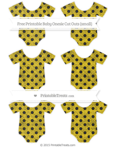 Free Gold Polka Dot Chalk Style Small Baby Onesie Cut Outs