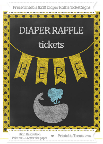 Free Gold Polka Dot Chalk Style Whale 8x10 Diaper Raffle Ticket Sign