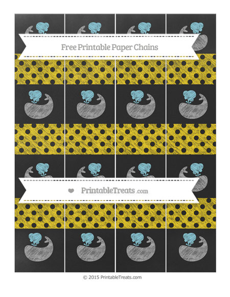 Free Gold Polka Dot Chalk Style Whale Paper Chains
