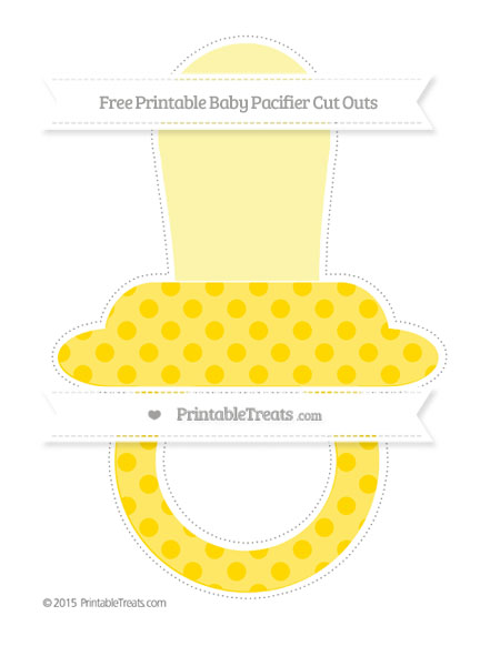 Free Gold Polka Dot Extra Large Baby Pacifier Cut Outs