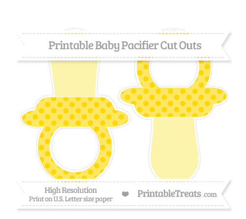 Free Gold Polka Dot Large Baby Pacifier Cut Outs