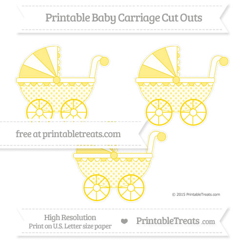 Free Gold Polka Dot Medium Baby Carriage Cut Outs