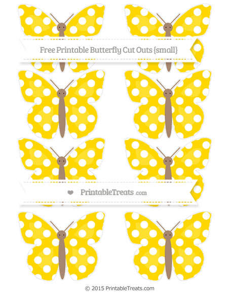 Free Gold Polka Dot Small Butterfly Cut Outs