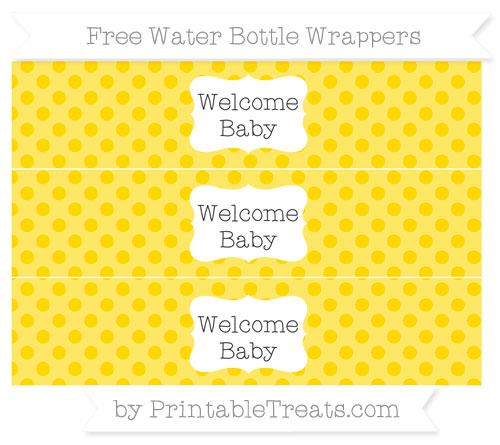 Free Gold Polka Dot Welcome Baby Water Bottle Wrappers
