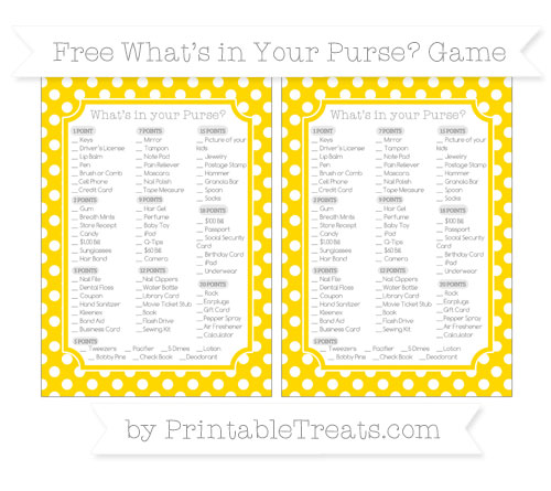 Free Gold Polka Dot What's in Your Purse Baby Shower Game