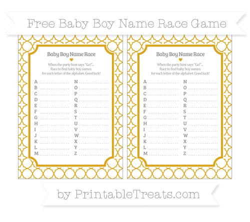 Free Gold Quatrefoil Pattern Baby Boy Name Race Game