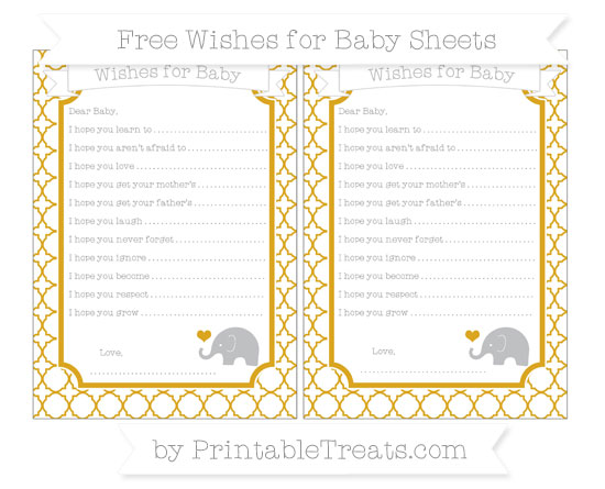 Free Gold Quatrefoil Pattern Baby Elephant Wishes for Baby Sheets
