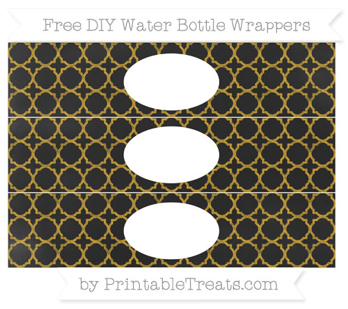 Free Gold Quatrefoil Pattern Chalk Style DIY Water Bottle Wrappers